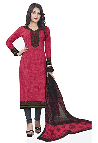 Ishin Synthetic Pink & Black Party Wear Bollywood New Collection Printed Unstitched...