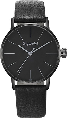 Gigandet Women's Quartz Wrist Watch Minimalism Analogue Leather Strap Black G43-011