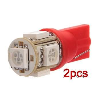 2x T10 194 168 501 W5W CULOT 5 LED 5050SMD Veilleuses Ampoule ROUGE 12V Voiture feux