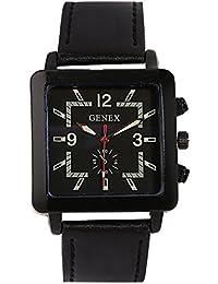 Genex Quartz Analog Black Dial Leather Strap Mens Watch-GNX-9001