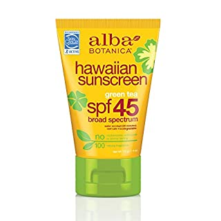 Alba Botanica Hawaiian Sunscreen, Green Tea SPF 45, 4 Ounce