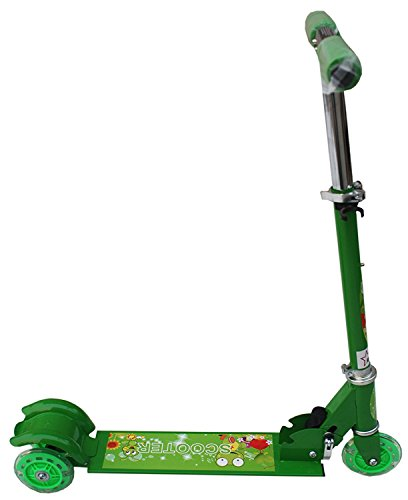 Green 3 Wheeler Baby Scooter for Kids 3-5 years - Adjustable Height Scooter with Wheel Lights and Anti Slip Foot Grip