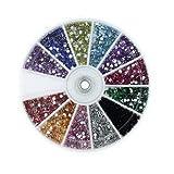 b-black ® Nail Art strass base plate Reconstruction Ongle couleurs et différentes tailles en boîte Roulette 3d