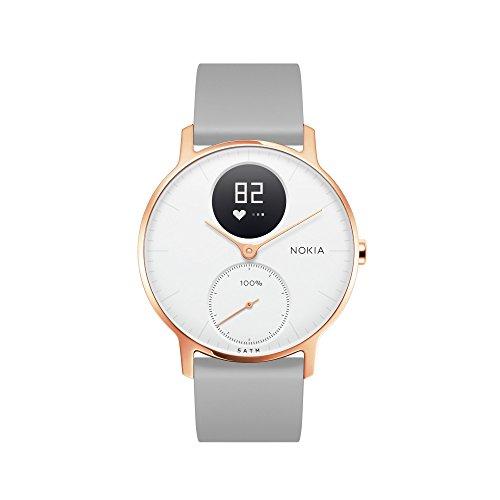 Withings Steel HR Hybrid Smartwatch - Fitnessuhr mit Herzfrequenz und Aktivitätsmessung  , 36mm - Weißes, grau Silikonarmband