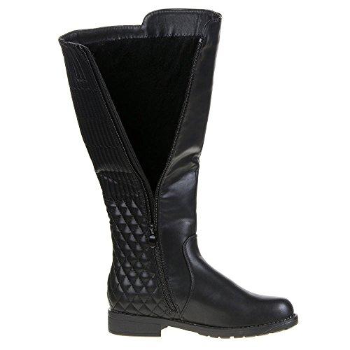 Damen Schuhe, 056-PG, STIEFEL Schwarz