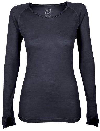 Super Natural T-shirt de compression à manches longues Base 140 pour femme Noir Caviar