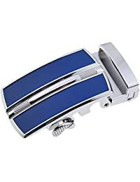 TOOGOO(R) Men's Solid Buckle Automatic Ratchet Leather Belt Buckle In the middle with an edge-Dark Blue + Silver