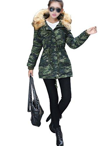 SMITHROAD Damen Fashion Parka Trenchcoat Tunnelzug Slim fit Mantel Jacke mit fellkapuze warmen Wintermantel Outerwear Fleecejacket Grün 2