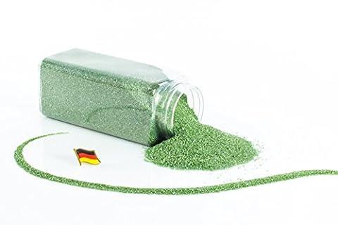 Sable coloré / sable décoratif TIMON, vert mousse brillant, 0,1-0,5 mm, bouteille de 605 ml, fabriqué en Allemagne - Sable fin décoratif - monsterkatz
