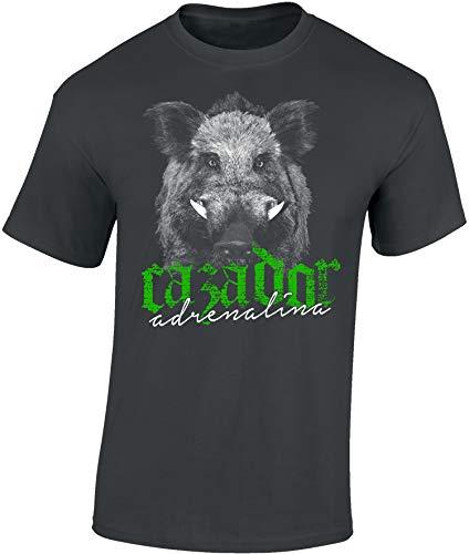 T-Shirt: Cazador Adrenalina - Jäger Adrenalin - Wildschwein - Spanisch Spanien - España español - Geschenk - Jäger-Bekleidung - Jagd- Waidmannsheil - Hirsch - Geweih - Jägerin - Deer Hunt-er (XXL)