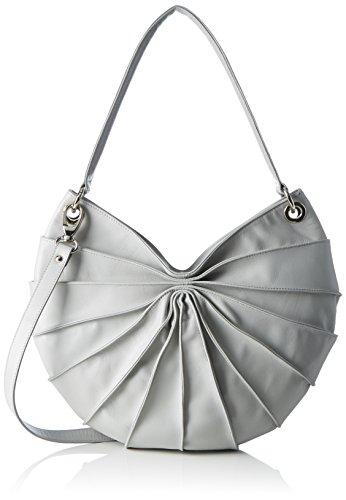 kaviar gauche Damen Lamella Semi Double Handle Umhängetasche, Grau (Grey/Silver), 7x35x37 cm