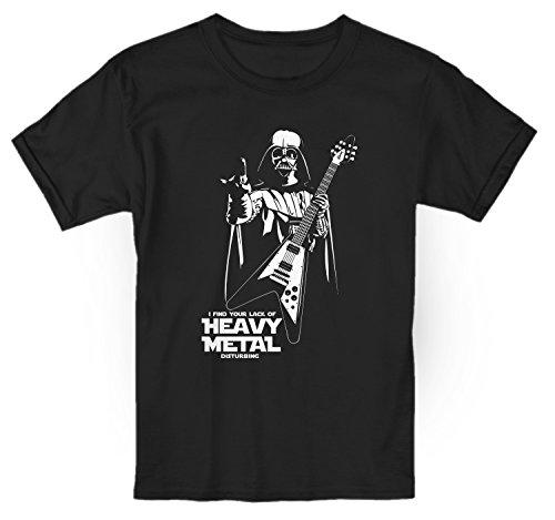 LaMAGLIERIA Camiseta niño Darth Vader Heavy Metal Disturbing - t-Shirt Kids Rocker algodòn, 3-4 años, Negro