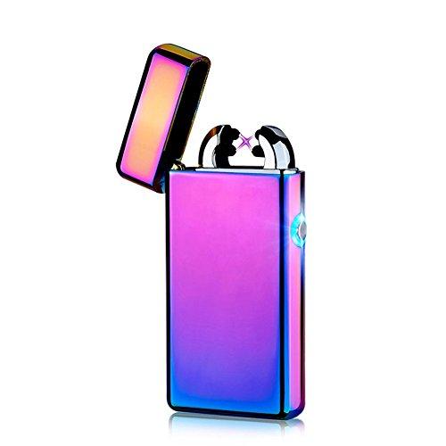 USB Elektronisches Feuerzeug Dual Lichtbogen Aufladbar Winddicht (Lila)