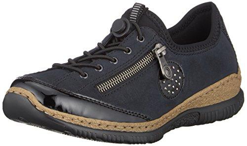 Rieker Damen N3268 Slip On Sneaker, Blau (Schwarz/Pazifik/Baltik/Schwarz 01), 39 EU