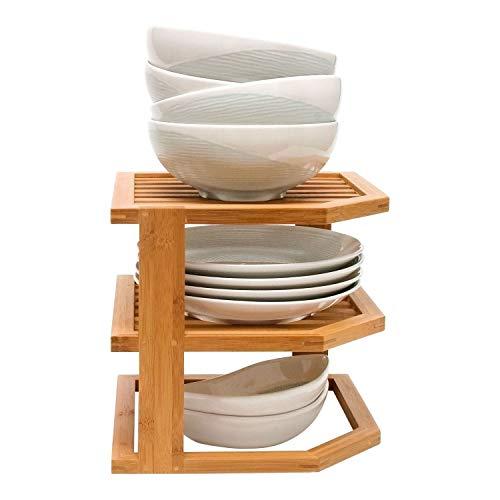 Generic Regal für Cupbo-Teller, Bambus, Maisregal, Küchenschrank, Schrank-Organizer, O-Tiere, Bambus, Eck-Badezimmereinheit -
