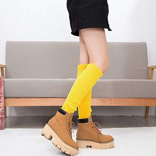 WNFDH Socken Neue Winter Warme Beinlinge Frauen Beiläufige Lange Gestrickte Beinwärmer Kniepolster Fluoreszenz Farbe Weichen Schlauch Socken Mädchen, gelb