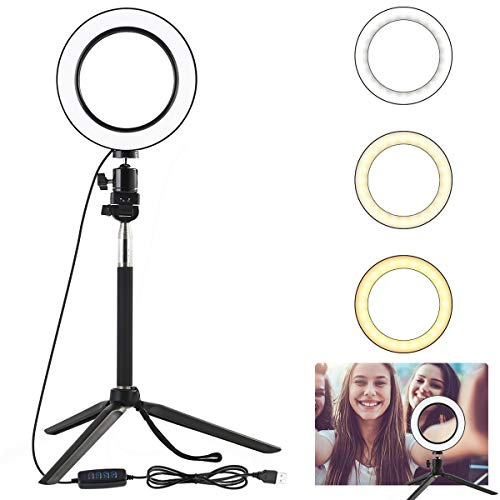 Mini Video Studio LED Fotocamera LED Luce Dimmerabile Lampada Video con treppiede Selfie Stick Fill Light per Illuminazione dal Vivo (Color : Black with Box)