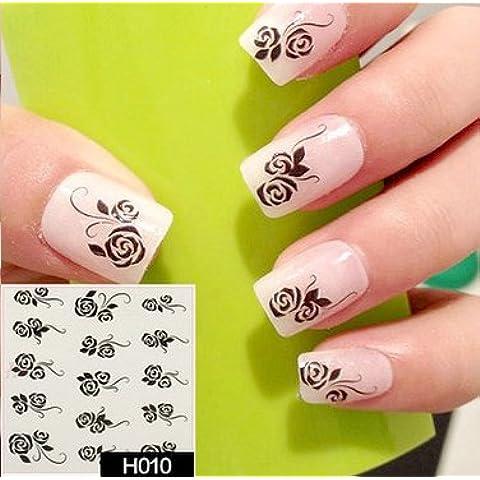 Arte de uñas: Calcomanías y autoadherentes Calcomanía Transferible con Agua H010 Pegatina Tatuaje para Uñas Nail Sticker -