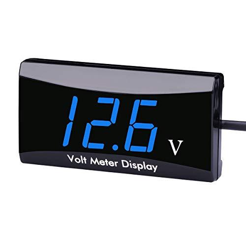 AIMILAR DC 12 Volt Messgerät - 12 V Digital Spannungsanzeige Messgerät Voltmeter für Auto Motorrad, blau (Auto Voltmeter Messgerät)