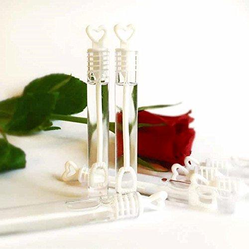 JRing Kasten von 48 Hochzeitsstab Herz Tube Bubble Gefälligkeiten Tischdekoration Party Zubehör (48)