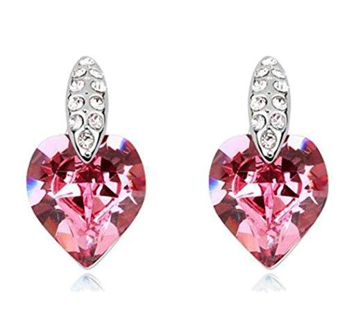 Sojewe Damen Herz Bolzen Ohrring Rosa Swarovski Elements Kristall Weiß Vergoldet Mode Accessoires Geschenk für Party - Kristall-herz-bolzen-ohrringe