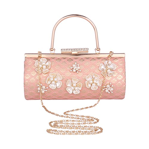 Damara® Damen Künstlicher Perle Blumen Clutch Abendtasche Mit Griff Rot