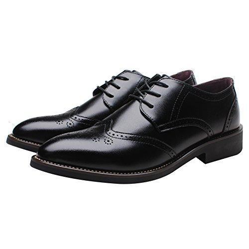 Shenn Britanique Style Hommes Élégant Pointe Pointue Oxfords Confort Cuir Synthétique Brogue Robe Chaussures Noir
