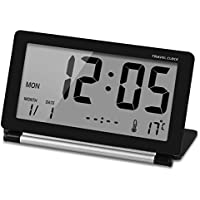 CEEBON Travel Clock, Folding Mini Silent Desk Travel Electronic Digital Alarm Clock With Temperature Calendar Week Repeating Snooze and Big LCD Digital Screen for Home Office Travel (Black)