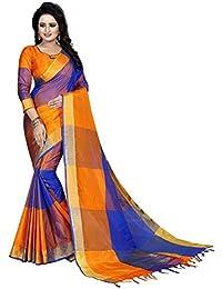 [Sponsored]Vrati Fashion Women's Multi Colour Cotton Silk Saree With Unstiched Blouse Material