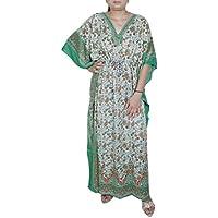 Delle donne vestito indiano estate stampato stile tradizionale caftano splendido