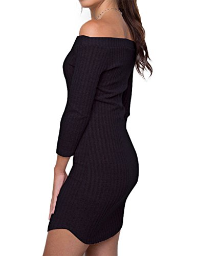 YesFashion Damen Kleider Schulterfreie Off Shoulder Strickenkleider Etuikleider Minikleider Dreiviertel Arm Pulli Schwarz