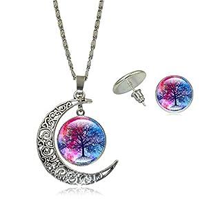 Dunbasi Lebensbaum Schmuck Set Halskette Ohrringe Glas Cabochon Charm Mond Silber Baum des Lebens Anhänger Kette Damen Geschenke