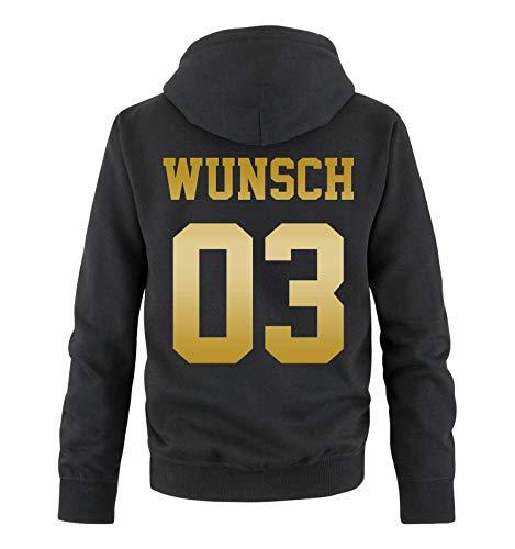 Comedy Shirts - Wunsch - Herren Hoodie - Schwarz/Gold - Gr. M Schwarz-gold-tv-serie
