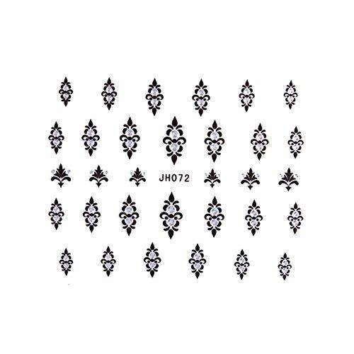ble - stickers ongles - baroque noir et argent jh072