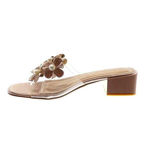Angkorly Chaussure Mode Sandale Escarpin Slip-On Femme Transparent Fleurs Perle Talon Haut Bloc 4 cm Rose