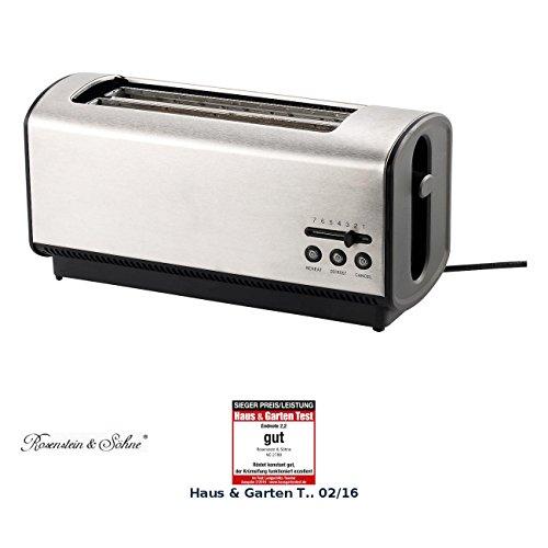 Rosenstein & Söhne Toaster 4 Scheiben: Langschlitz-Toaster für 4 Toastscheiben, 1200 Watt (Doppel-Toaster)