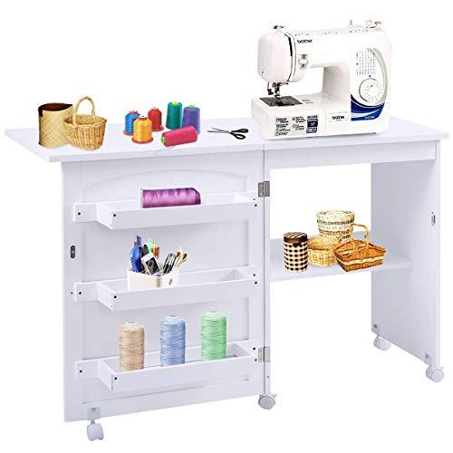 Costway Table pour Machine à Coudre Pliante, Table de Couture avec 3 Etagères pour Bobines et roulettes verrouillables en Bois