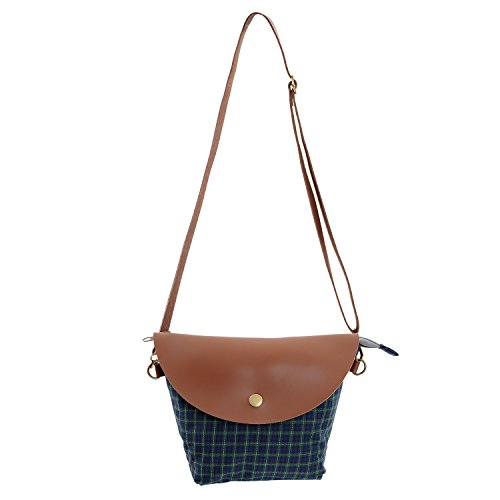 Micoop, Borsa a tracolla donna Check Green and Blue Check Green and Blue