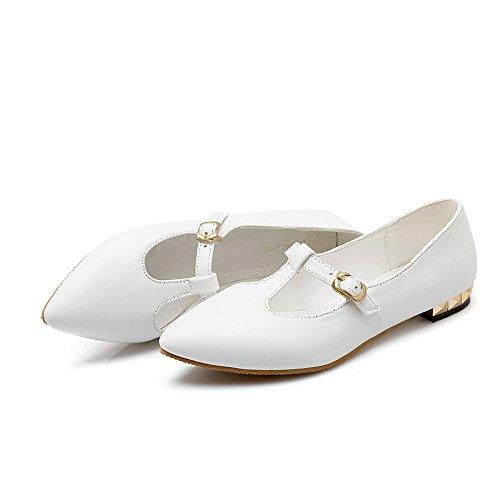 AgooLar Femme Couleur Unie Verni Non Talon Pointu Boucle Chaussures à Plat Blanc