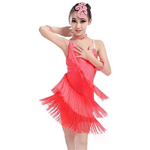 Cvbndfe Weich Mädchen Tanzkleid Fransen Performance Ballsaal Kostüm Salsa Tango Quaste Latin Dance Kleid Kostüm Gymnastic Dancewear (Farbe : Rot, Größe : 130) (Rote Fransen Dance Kostüm)