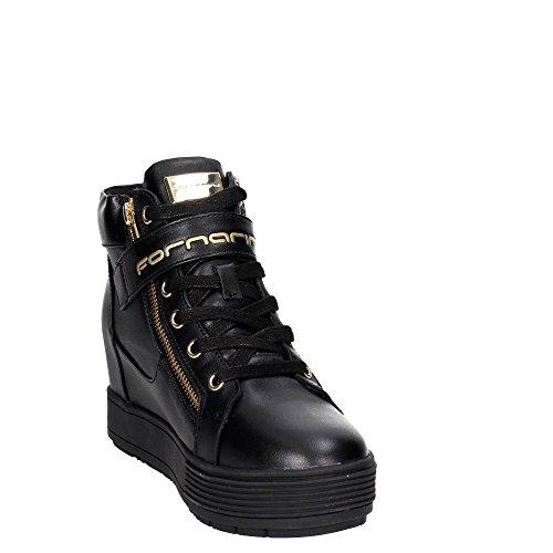 Fornarina sneakers con zeppa interna nero PIFMJ9606WVA0000 meti-black nappa nuova collezione autunno inverno 2016 2017 Nero