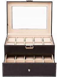 TRESKO® Caja para 20 de Relojes organizador de relojes caja relojero estuche relojero para almacenar relojes, de piel sintética, negro