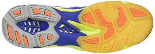 Mizuno Wave Lightning Z3 Mid, Chaussures de Volleyball Homme, Bleu/Blanc/Jaune Multicolore (Surf The Web/White/Orange Clown Fish)