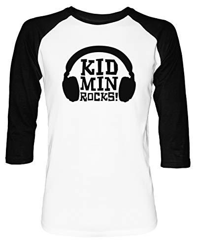 KidMin Rocks! - Church Herren Damen Unisex Baseball T-Shirt Weiß Schwarz 2/3 Ärmel Women\'s Men\'s Unisex Größe L Men\'s White T-Shirt Large Size L