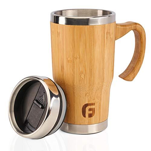 GranFore Edelstahlbecher mit Deckel   450ml Bambus Becher   Öko Kaffee- und Teebecher   to Go Becher