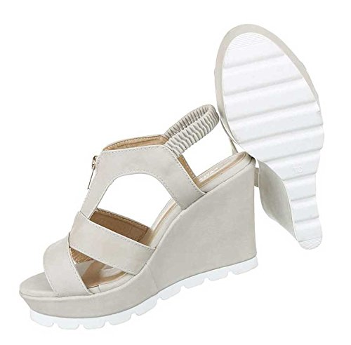 Damen Sandaletten Schuhe Keil Wedges Schwarz Beige