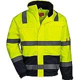Nitras Nitras Motion TEX VIZ - Wasserdichte Warnschutz-Pilotenjacke - Arbeitsjacke für Damen & Herren mit einrollbarer Kapuze - Schutzjacke mit Reflexstreifen