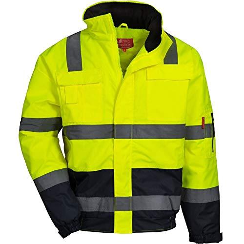 Nitras Motion TEX VIZ Plus - Wasserdichte Warnschutz-Pilotenjacke Nighthawk L - Arbeitsjacke für Damen & Herren mit einrollbarer Kapuze - Schutzjacke mit Reflexstreifen - Gelb Größe M