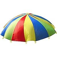 HMILYDYK Childrens Kids Play de desarrollo deportivo Rainbow paraguas paracaídas con asas para niños tienda jugar juegos de familia de, interior y exterior para ejercicio (2m) (2m)