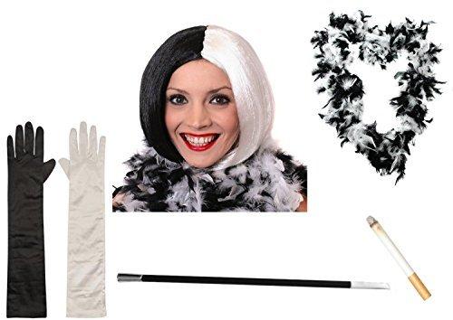 Deluxe Evil Dog Lady Halloween Buch Woche Villain Fancy Kleid Zubehör Set Unbarmherziger Lady Bob Perücke + Handschuhe + Feder BOA + Zigarettenspitze + Zigarette Instant (Dalmation Halloween Kostüme)